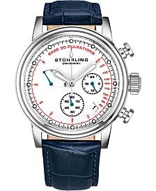 Stuhrling Men's Quartz Pulsometer Chronograph, White Dial, Blue Leather Strap Watch