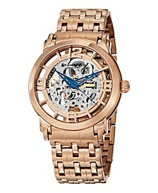 Stainless Steel Rose Tone Case on Polished Link Bracelet, Rose Tone Skeletonized Spoke-Style Dial, with Blue Accents