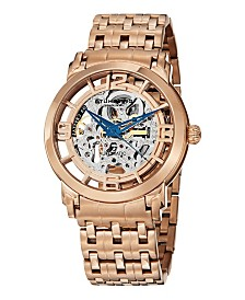 Stuhrling Stainless Steel Rose Tone Case on Polished Link Bracelet, Rose Tone Skeletonized Spoke-Style Dial, with Blue Accents