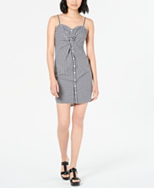 Bar III Twist-Front Gingham-Print Dress, Created for Macy's