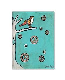 "Tammy Kushnir 'Peace Sign Bird' Canvas Art - 19"" x 14"" x 2"""