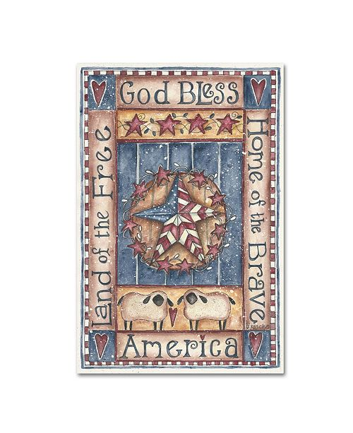 """Trademark Global Shelly Rasche 'God Bless America Home of The Brave' Canvas Art - 19"""" x 12"""" x 2"""""""