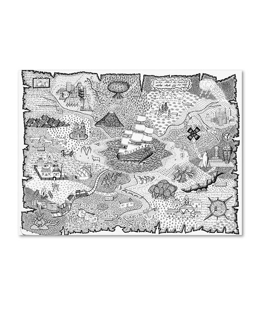 """Trademark Innovations Not-Wolf-Productions 'Treasure Map' Canvas Art - 47"""" x 35"""" x 2"""""""
