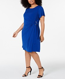 Calvin Klein Plus Size Embellished Wrap Dress