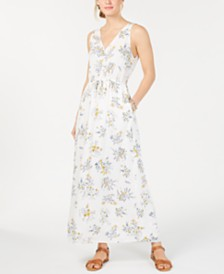 Lucky Brand Flora Printed V-Neck Maxi Dress