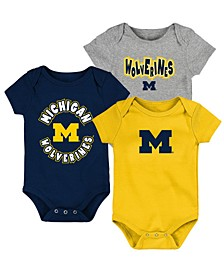 Baby Michigan Wolverines Everyday Fan 3 Piece Creeper Set