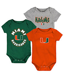 Outerstuff Baby Miami Hurricanes Everyday Fan 3 Piece Creeper Set