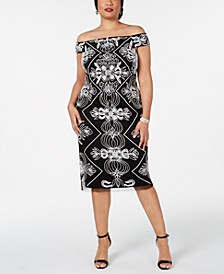 Plus Size Embellished Off-The-Shoulder Sheath Dress