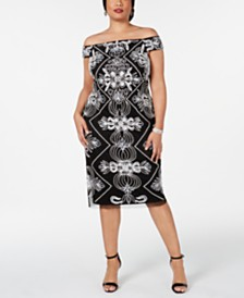 Adrianna Papell Plus Size Embellished Off-The-Shoulder Sheath Dress