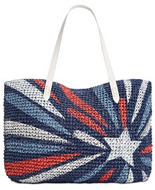 I.N.C. Tropical Straw Tote, Created for Macy's