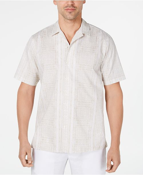 Tasso Elba Men's Stretch Geo Tile-Print Camp Collar Shirt, Created for Macy's
