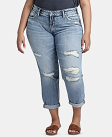 Trendy Plus Size Ripped Boyfriend Jeans