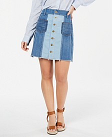 Patchwork Button Denim Skirt, Created for Macy's