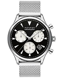 Movado Men's Swiss Chronograph Heritage Stainless Steel Mesh Bracelet Watch 43mm