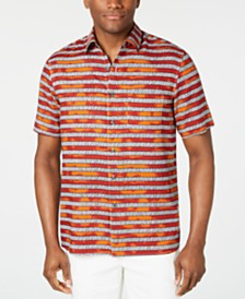 Tasso Elba Men's Zoya Striped Silk Shirt, Created for Macy's