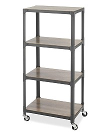 Whitmor 4-Tier Metal and Wood Cart