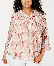 Plus Size Printed Pintuck Bell-Sleeve Top, Created for Macy's