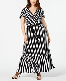 I.N.C. Plus Size Striped Faux-Wrap Maxi Dress, Created for Macy's