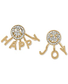 Gold-Tone Pavé Smiley Happy & Joy Mismatch Front-and-Back Earrings