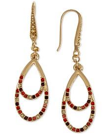 Laundry by Shelli Segal Gold-Tone Multicolor Pavé Double Tear-Shape Drop Earrings