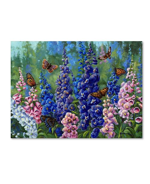 "Trademark Global Wanda Mumm 'Butterfly And Delphinium' Canvas Art - 47"" x 35"" x 2"""