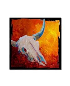 """Marion Rose 'Longhorn Skull' Canvas Art - 14"""" x 14"""" x 2"""""""
