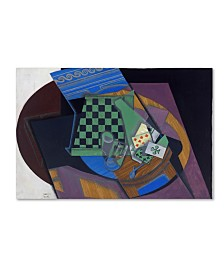 """Juan Gris 'Checkerboard And Playing Cards' Canvas Art - 19"""" x 12"""" x 2"""""""