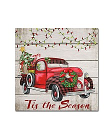 "Jean Plout 'Vintage Christmas Truck 5' Canvas Art - 14"" x 14"" x 2"""