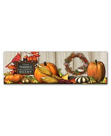 """Jean Plout 'Give Thanks with a Grateful Heart' Canvas Art - 10"""" x 32"""" x 2"""""""