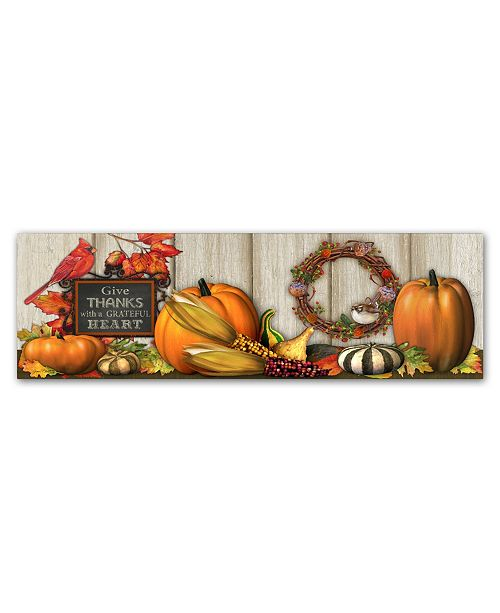 "Trademark Global Jean Plout 'Give Thanks with a Grateful Heart' Canvas Art - 10"" x 32"" x 2"""