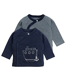 Mac and Moon 2-Pack Navy and Striped Long Sleeve Kimono Wrap Tees