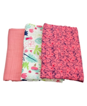 Mac & Moon 3-Pack Floral and Bird Print Muslin Swaddles