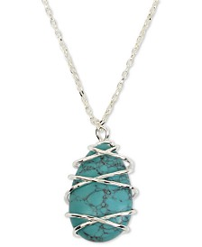 "Robert Lee Morris Soho Silver-Tone Wire-Wrapped Stone 33"" Pendant Necklace"