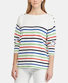 Lauren Ralph Lauren Petite Striped Cotton Sweater