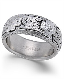 Men's Cross-Design Cobalt Ring