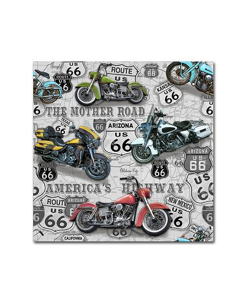"Trademark Global Jean Plout 'Vintage Motorcycles On Route 66 2' Canvas Art - 24"" x 24"" x 2"""