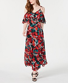 Floral Printed Cold-Shoulder Maxi Dress