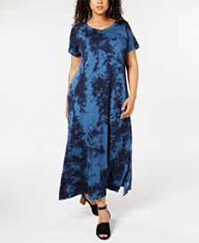 Style & Co Plus Size Tie Dye Maxi Dress, Created for Macy's