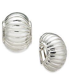 Charter Club Silver-Tone Curved Clip-On Earrings, Created for Macy's