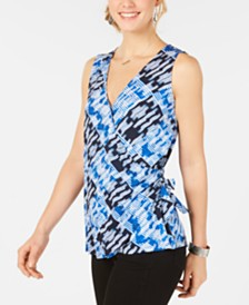Style & Co Printed V-Neck Wrap Top, Created for Macy's