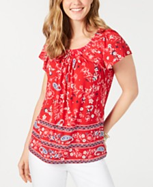 Style & Co Pleated-Neck Border-Print Top, Created for Macy's