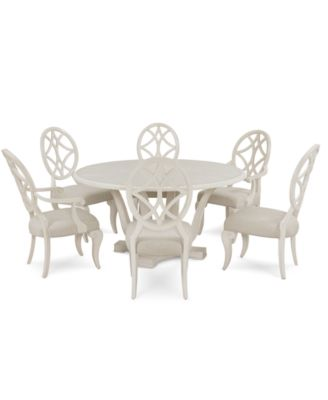 Jasper County Dogwood Round Dining Furniture, 7-Pc. Set (Table, 4 Side Chairs & 2 Arm Chairs)