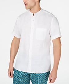 Tasso Elba Men's Crossdye Linen Banded Collar Shirt, Created for Macy's