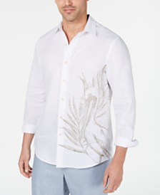 Tasso Elba Men's Engineered Pelican-Print Linen Shirt, Created for Macy's