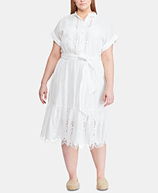 Lauren Ralph Lauren Plus Size Belted Cotton Dress, Created for Macy's