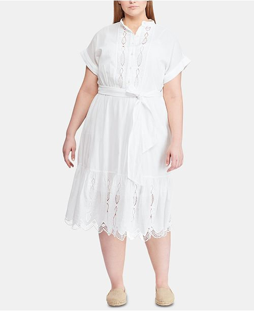 Lauren Ralph Lauren Plus Size Belted Cotton Dress, Created ...