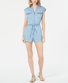 Bar III Denim Chambray Utility Romper, Created for Macy's