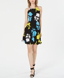 Bar III Floral-Print Halter Fit & Flare Dress, Created for Macy's