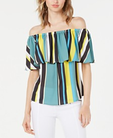 Bar III Striped Off-The-Shoulder Top, Created for Macy's