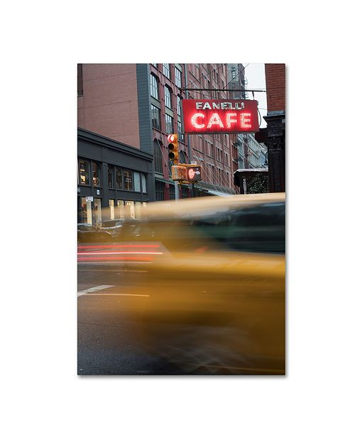 """Trademark Global Moises Levy 'Cafe and Cab' Canvas Art - 19"""" x 12"""" x 2"""""""